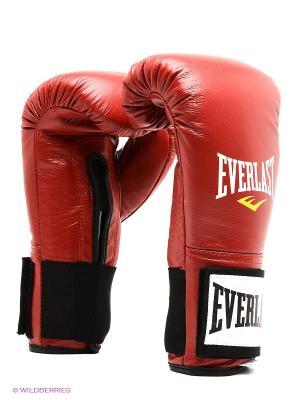 Перчатки тренировочные на липучке, 10oz Everlast. Цвет: красный