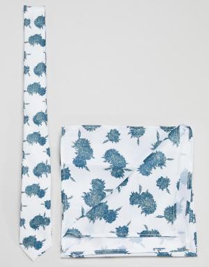 ASOS Галстук и платок для пиджака мятного цвета с цветочным принтом DE. Цвет: зеленый