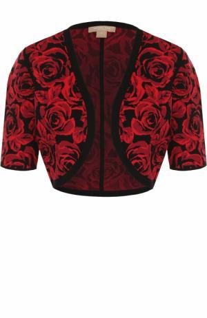 Укороченный жакет с цветочным принтом Michael Kors. Цвет: красный