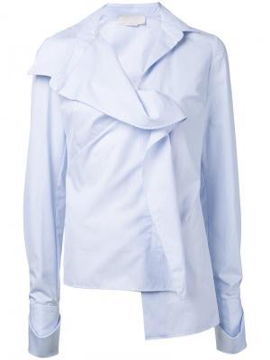 Полосатая асимметричная рубашка Monse. Цвет: белый