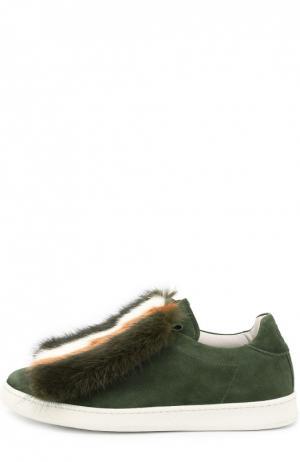 Замшевые кеды Var с меховой отделкой Joshua Sanders. Цвет: зеленый
