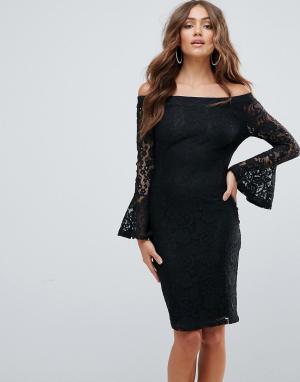 Girl In Mind Кружевное платье с открытыми плечами. Цвет: черный
