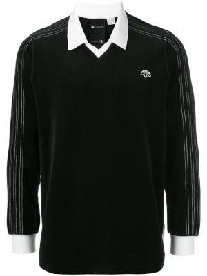 Велюровая рубашка-поло с логотипом Adidas Originals By Alexander Wang. Цвет: чёрный