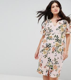 Closet Plus Платье с цветочным принтом и оборками на рукавах London. Цвет: розовый