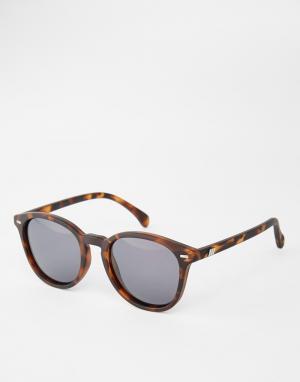 Le Specs Круглые солнцезащитные очки в черепаховой оправе Bandwagon. Цвет: коричневый