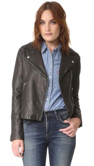 Байкерская куртка из стираной кожи Madewell. Цвет: настоящий черный