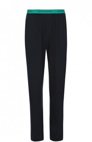 Хлопковые брюки на широкой резинке Emporio Armani. Цвет: темно-синий