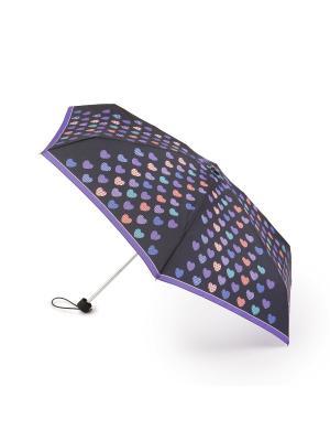 Зонт женский механика Henry Backer Весёлые сердечки. Цвет: черный