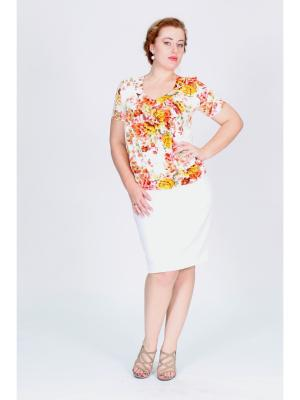 Блузка Pelagueya. Цвет: молочный, желтый, оранжевый