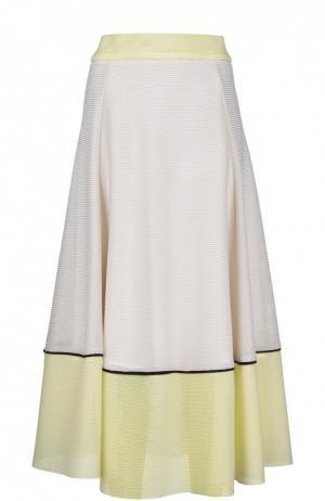 Вязаная юбка-макси с контрастной отделкой Maje. Цвет: разноцветный