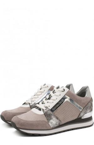 Комбинированные кроссовки Billie на шнуровке MICHAEL Kors. Цвет: серый