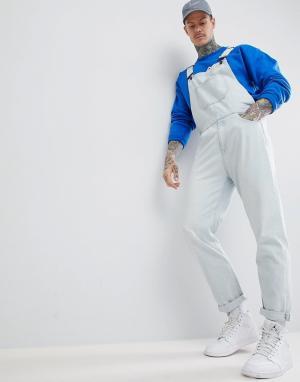 ASOS Голубой джинсовый комбинезон скинни DESIGN. Цвет: синий