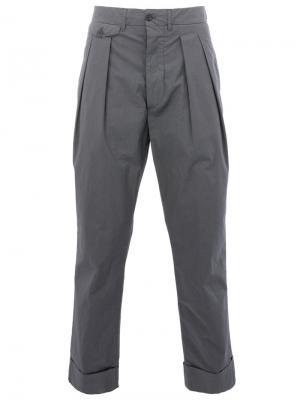 Классические брюки прямого кроя Wooster + Lardini. Цвет: серый