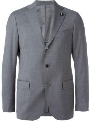 Пиджак с застежкой на три пуговицы Lardini. Цвет: серый