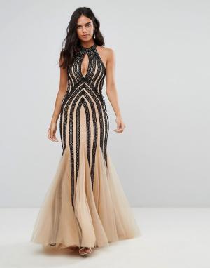 Forever Unique Платье с халтером, вырезом-капелькой и пайетками. Цвет: черный