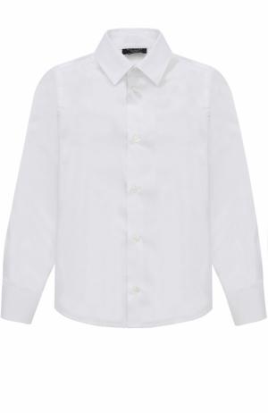 Хлопковая рубашка в мелкую полоску Dal Lago. Цвет: белый