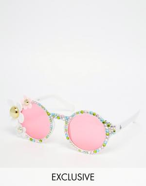 Spangled Белые солнцезащитные очки с 3D‑цветами. Цвет: мульти