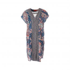 Платье прямое с короткими рукавами и рисунком RENE DERHY. Цвет: наб. рисунок синий