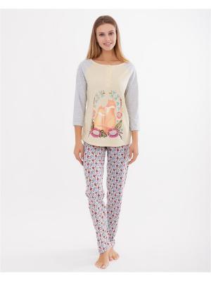 Комплект одежды: лонгслив, брюки Mark Formelle. Цвет: светло-серый, бежевый, белый, светло-желтый