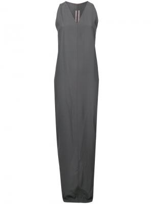 Платье макси без рукавов Rick Owens. Цвет: серый