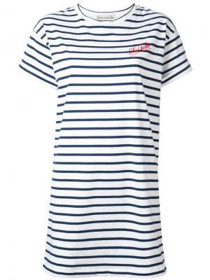 Платье-футболка в полоску Être Cécile. Цвет: красный
