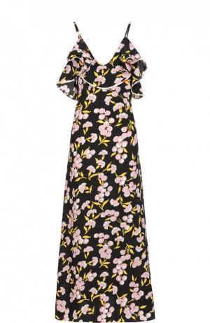 Шелковое платье-макси на бретельках с цветочным принтом Marni. Цвет: черный