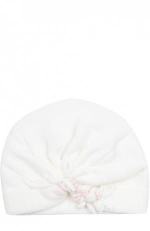 Вязаная шапка с декором Il Trenino. Цвет: белый