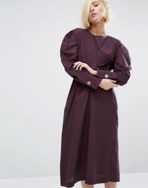 Style Mafia Платье с объемными плечами Juliet. Цвет: фиолетовый