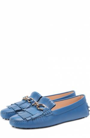 Кожаные мокасины с пряжкой и бахромой Tod's. Цвет: темно-синий