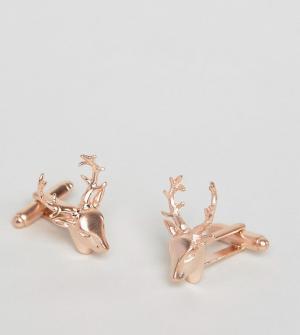 Simon Carter Запонки с головой оленя цвета розового золота эксклюзивно. Цвет: золотой
