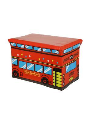 Пуф-короб для хранения HomeMaster. Цвет: черный, красный, голубой
