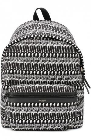 Текстильный рюкзак с принтом и отделкой из натуральной кожи Saint Laurent. Цвет: черно-белый