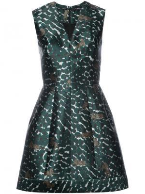 Расклешенное платье с леопардовым принтом Yigal Azrouel. Цвет: зелёный