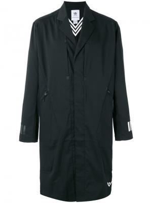 Объемное пальто Adidas By White Mountaineering. Цвет: чёрный