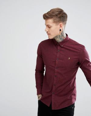 Farah Бордовая приталенная рубашка Steen. Цвет: красный
