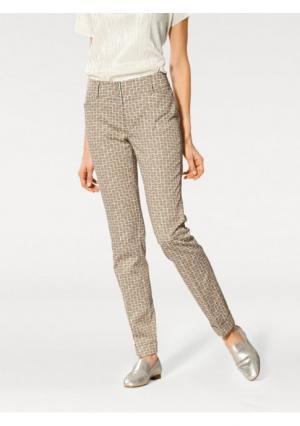 Моделирующие брюки Ashley Brooke. Цвет: серо-коричневый/белый