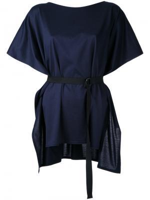Belted shortsleeved blouse Taro Horiuchi. Цвет: синий