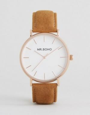 Mr Boho Часы со светло-коричневым замшевым ремешком. Цвет: рыжий