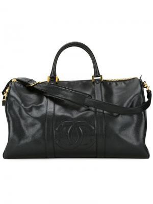 Дорожная сумка с тисненым логотипом Chanel Vintage. Цвет: чёрный