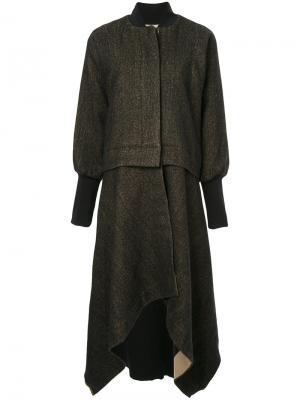 Пальто с асимметричным подолом Uma Wang. Цвет: коричневый
