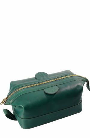 Кожаный несессер на молнии Truefitt&Hill. Цвет: зеленый