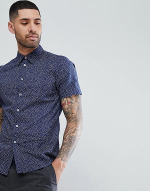 PS Paul Smith Темно-синяя рубашка с короткими рукавами. Цвет: темно-синий