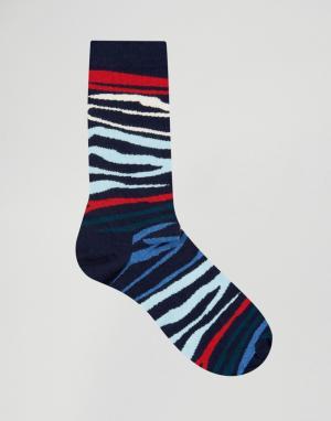 Happy Socks Носки с принтом зебра. Цвет: синий