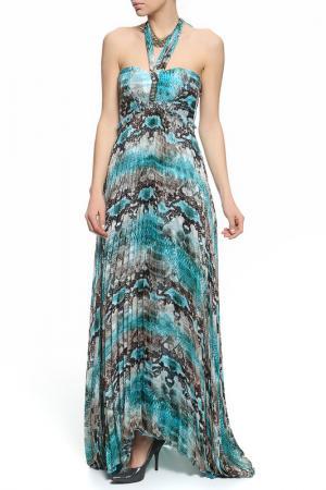 Платье XS MILANO. Цвет: голубой, коричневый