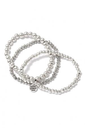 Серебристый тройной браслет Philippe Audibert. Цвет: серебряный