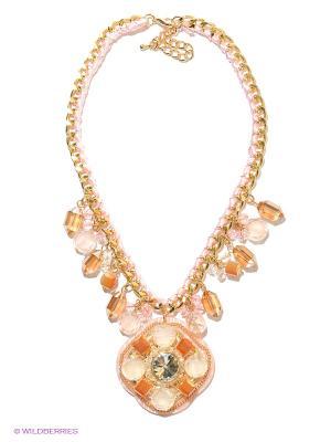 Колье Bijoux Land. Цвет: золотистый, прозрачный, розовый