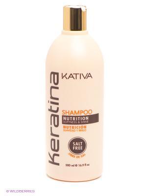 Укрепляющий шампунь с кератином Kativa для всех типов волоc KERATINA, 500 мл. Цвет: молочный