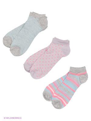 Носки, 3 пары Oodji. Цвет: голубой