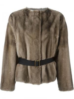 Меховая куртка с поясом Inès & Maréchal. Цвет: коричневый