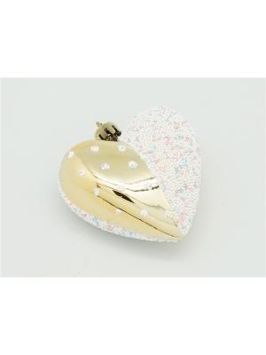 Украшение подвесное из пластика Сердце золотое/белое, 4 шт. арт.16006  (ДШВ 0,07Х0,28Х0,02 м.) Яркий Праздник. Цвет: золотистый